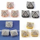 10x Pave Crystal Hip Hop Charm Connector Bead Solid Metal Pyramid Fit Bracelet