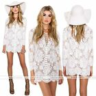 Fashion Women Lace Long Sleeve Bodycon Cocktail Evening Party Short Mini Dress