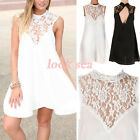 Summer Womens Chiffon Lace Backless Sleeveless Beach Cocktail Party Mini Dress