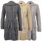 Ladies Cardigan Womens Cable Knitted Boyfriend Chunky Jacquard Belt Winter New