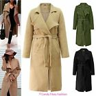 LADIES BELTED WATERFALL DUSTER FLEECE LONG JACKET WOMENS DRAPE TRENCH COAT TOP