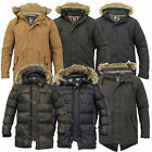 Mens Parka Jacket Brave Soul Coat Padded Quilted Hooded Puffer Fur Lined Winter