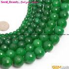 "Round Faceted Green Jade Gemstone Jewelry Making Bead 15"" 4/6/8/10mm Pick SD6407"