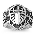 FREE SHIP! Fancy Designer LARGE HEAVY Cross  Stainless Steel Ring Size  8-14