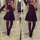 Women Sexy Autumn Winter Warm Casual Work Long Sleeve Doll Neck Slim Tutu Dress