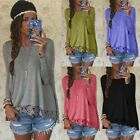 New Womens Long Sleeve Shirt Casual Lace Blouse Loose Cotton Tops T Shirt