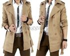 Fashion Mens British Casual Double-Breasted Belts Trench Coat Slim Fit Peacoat