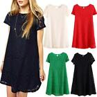 Tunic Dresses Womens Party Crochet Top Lace Loose Winter Ladies Dress Size