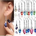 Women Lady 18K White Gold Filled Crystal Drop Dangle Style Earrings Hook Jewelry