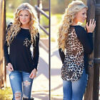 Plus Size Fashion Women Top Long Sleeve Blouse Ladies Tops T-Shirt Leopard Tee