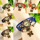 Women Fashion Vintage Butterfly Pendant Bracelet Faux Leather Quartz Wrist Watch