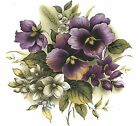 Purple Pansy Pansies Flower Center Select-A-Size Waterslide Ceramic Decals Bx image