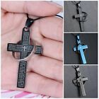 Fashion Unisex's Men Leather Stainless Steel Cross Ring Silver Pendant Necklace