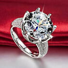 Hot Woman White Sapphire 925 Silver Filled Wedding Bridal  Ring Gift Size 5-11