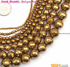"Beauty Round Faceted Gold Hematite JewelryMaking Loose Gemstone Beads15""SD9565-V"