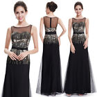Women's Black Round Neck Sequins Long Evening Formal Party Dress 08602