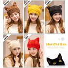Good Winter Warm Beanie Devil Horns Cat Ear Crochet Braid Knit Ski Wool Cap Hat