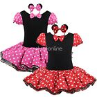 Girls Toddler Baby Pink Minnie Mouse Fancy Dress Outfit Costume Ears Age 12M-8Y