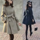 Fashion New Womens Casual Slim Fit Woolen Blend Long Sleeve Trench Coat Peacoat