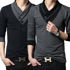 Cool Fashion Casual Slim fit Solid color V-Neck Long-sleeved men's T-shirt US
