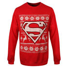 Official Superman Logo Fair Isle Nordic Red Christmas Jumper - DC Comics New Top