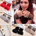 New Women Lady Warm Winter Knitted Knit Wool Fingerless Gloves Mittens Fur Gift