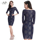 Women's Fashion Navy Blue Half Sleeve Lace Short Casual Dress 05321