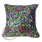 Ga012a Green Silver Red Gold Blue 6mm Sequin w/Velvet Cushion Cover Custom Size