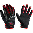 CARBON FIBER ~ FOX RACING Bomber Red Black MOTORCYCLE TOURING ATV QUADS GLOVE