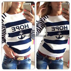 NEW Casual Womens Round Neck Pullover T-Shirt Long Sleeve Tops Blouse S-XL