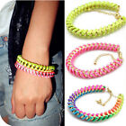 1x 2x Lot Colorful Stylish Fluorescence Line Woven Metal Chain Bracelets Jewelry
