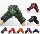 Ladies Women Soft Leather Gloves With Bow Padded Stitch Cut Fur Lining