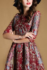 Noble Lady Floral Printed 1/2 Sleeve A-Line Dress Evening Party Cocktail Dresses