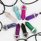 Gemstone Natural Crystal Quartz Healing Point Stone Silver  Necklace 5 Colors