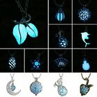 CHARM FAIRY SILVER RETRO ROUND HEART CRESCENT GLOW IN THE DARK HOLLOW NECKLACE