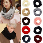 Men Women Winter Warm Infinity Circle Cable Knit Cowl Neck Scarf Shawl Long
