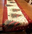 6ft Christmas Tapestry Table Runner Tree Presents Ornaments Holiday Decor NEW