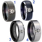 Tungsten Star Wars R2D2 8MM Black Step Dome Beveled Edges Pip Cut Men's Ring