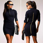 Women's Celeb Sexy Bodycon Party Evening Mini Pencil Dress Casual Zip Slim Dress