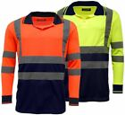 High Visibility Two Tone Long Sleeve Safety Work Polo Shirt - EN471 | HV033