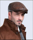 men's winter warm 100% cow leather with protect ear Beanie hat cap