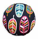 lf341n Black White Hot Pink Mustard Light Blue Cotton Canvas Round Cushion Cover