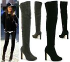 LADIES OVER THE KNEE STILETTO HIGH HEEL PULL ON ZIP THIGH HIGH BOOTS SHOES SIZE