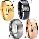 Tungsten Army Airborn 8MM Dome Gold IP Black Silver Rose Men's Ring