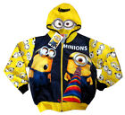 MINIONS kids vibrant blue hooded sweatshirt jacket Size S-XL Age 6-13 yrs