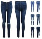 NEW WOMENS LADIES GIRLS SKINNY FIT RIPPED PLAIN KNEE BLUE JEANS TROUSERS PANTS