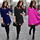 Fashion Womens Long Sleeve Casual Loose Tops T Shirt Dress Flare