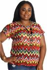 DEALZONE Vibrant Printed Knitted Top 3X Women Plus Size Multi-Colored Casual