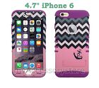 """For 4.7"""" iPhone 6s, 6 Pink Anchor Chevron RKR Hard&Silicone Rugged Case Cover"""