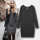 Autumn Womens Crew-neck Wool Pullover Long Sleeve Jumpers Knit Sweater Dress CHI